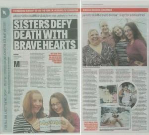 Doncaster Free Press   Dec 2013   Sisters Defy Death