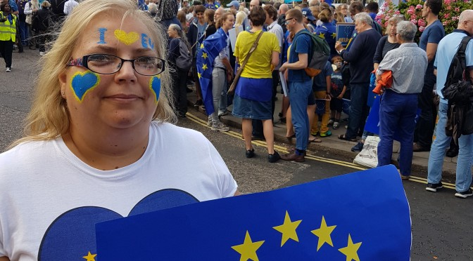 Frederika Roberts at #MarchForEurope with giant #StopBrexitPostcard